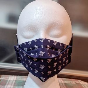 Handmade Navy with white floral face masks